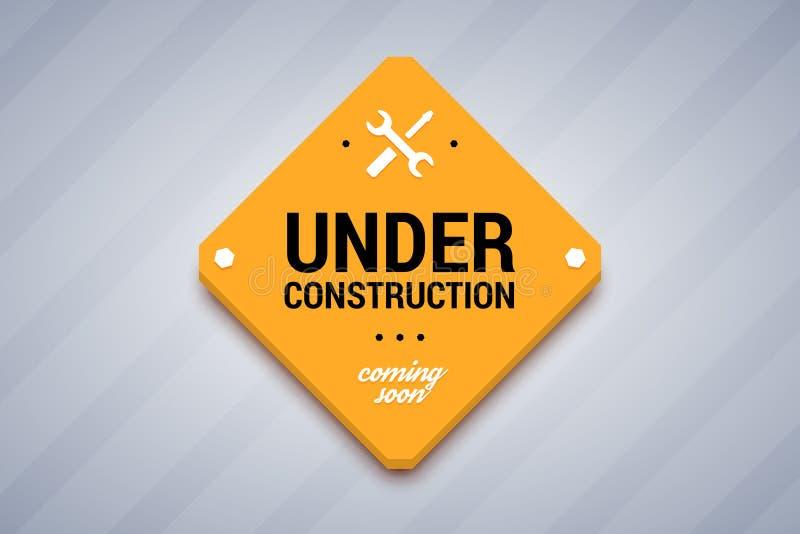 Under construction sign. Vector illustration for website royalty free illustration