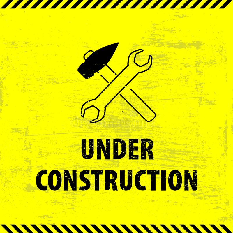 Under construction sign on yellow ground background. Vector illustration for website. Under construction sign with a hammer and a. Screwdriver. Process of stock illustration