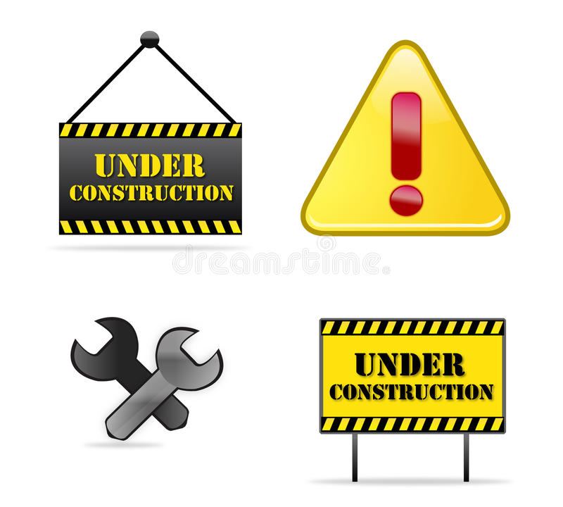 Under Construction signs. Different Under Construction signs or icons isolated over white vector illustration