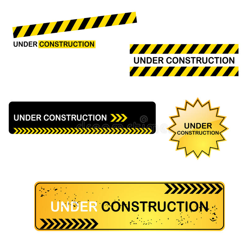 Under construction signs. Set of five under construction signs for your website, isolated on white background.EPS file available