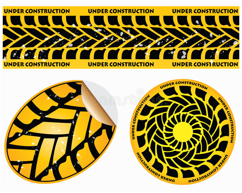 Under construction signs. With tire design royalty free illustration