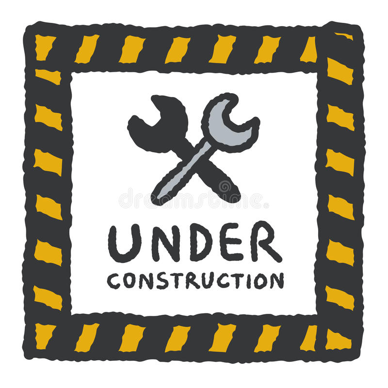 Under construction signs in cartoon style vector illustration