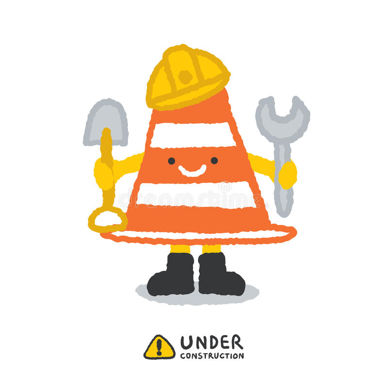 Under construction signs in cartoon style stock illustration