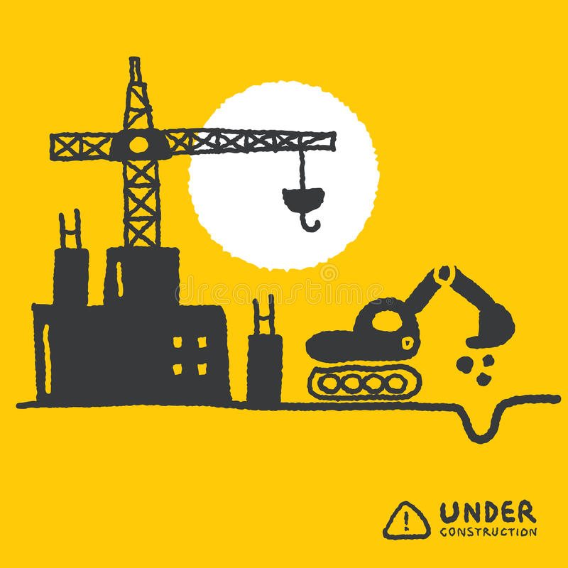 Under construction signs in cartoon style royalty free illustration