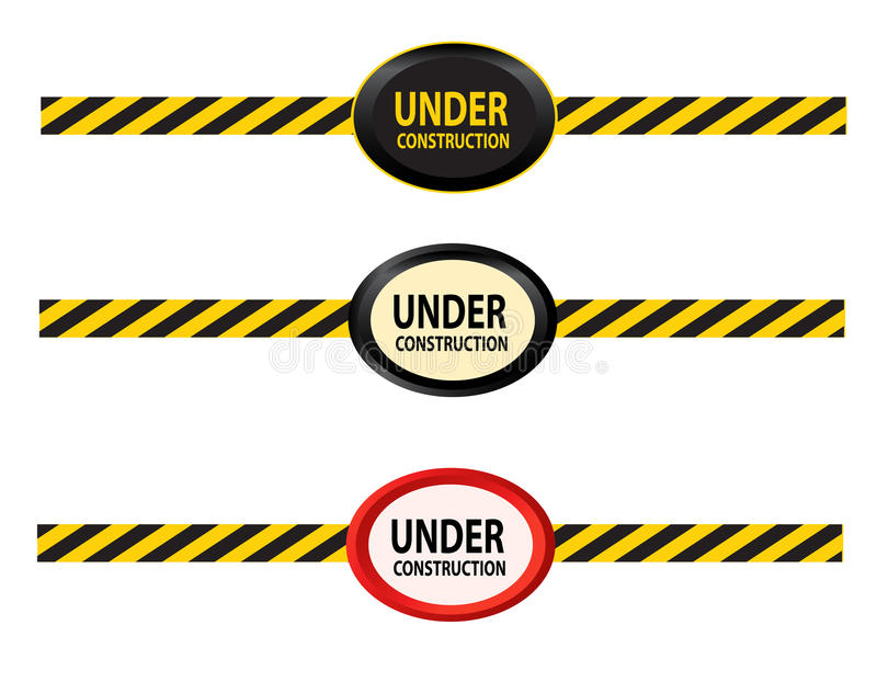 Under construction signs. Illustrated set of different under construction signs isolated on a white background stock illustration