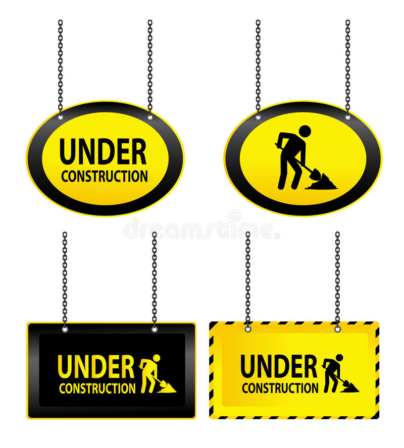 Under construction signs. Illustrated set of hanging under construction signs isolated on a white background vector illustration