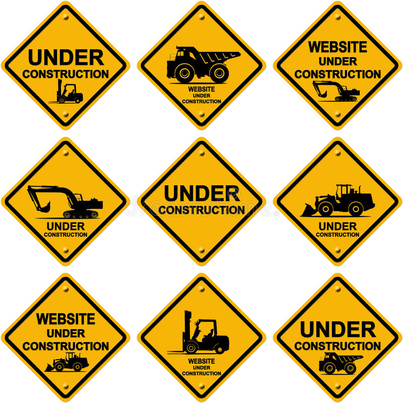 Under construction signs. Isolated on white background stock illustration