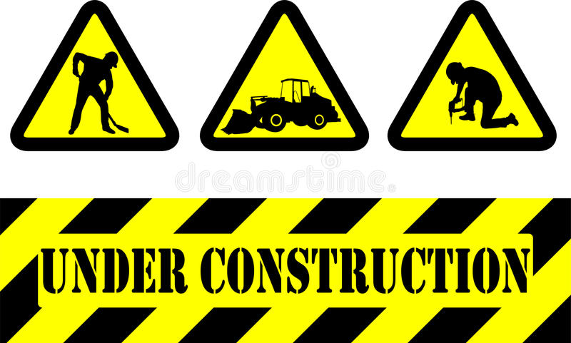 Under construction signs. Set of under construction signs royalty free illustration