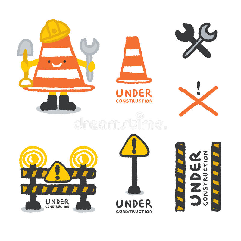 Under construction signs set in cartoon style. Freehand drawing vector Illustration vector illustration