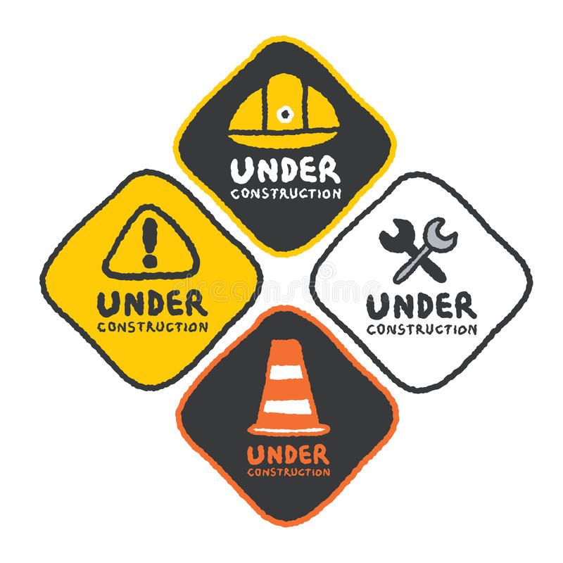 Under construction signs set in cartoon style. Freehand drawing vector Illustration stock illustration