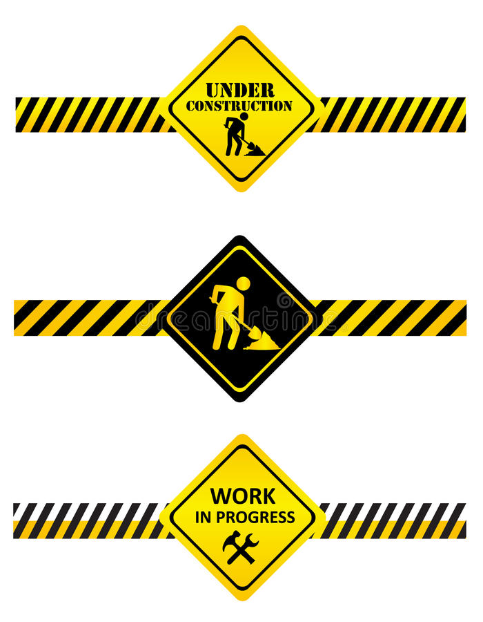 Under construction signs. A set of under construction signs and tapes vector illustration