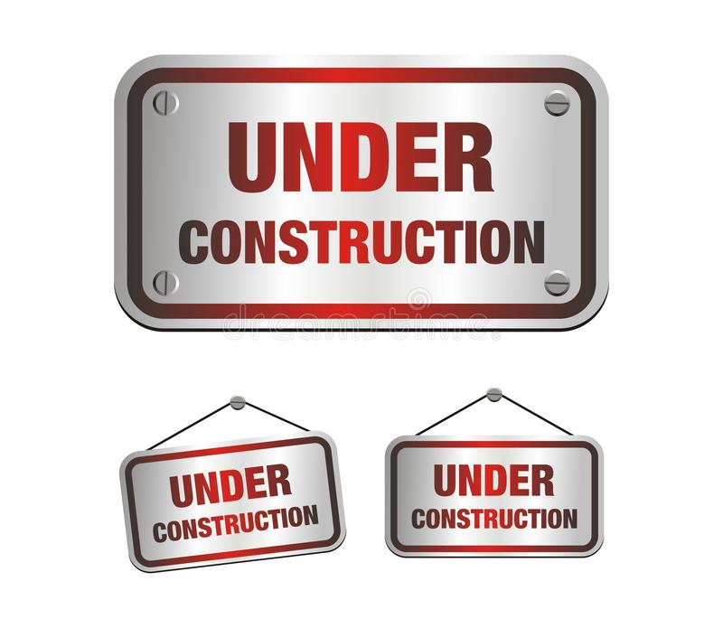 Under construction signs. Suitable for user interface stock illustration