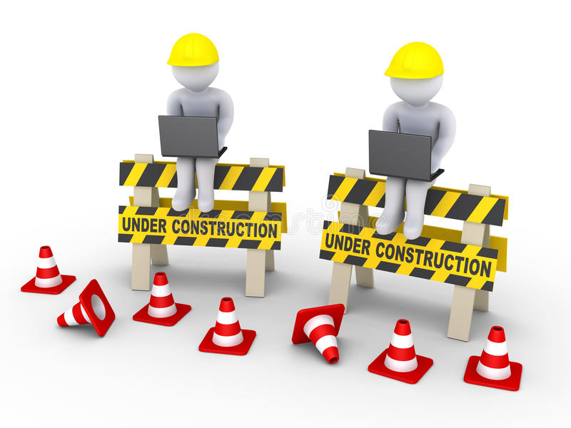 Under construction signs and two workers with laptops. 3d workers with laptops are sitting on two under construction signs stock illustration