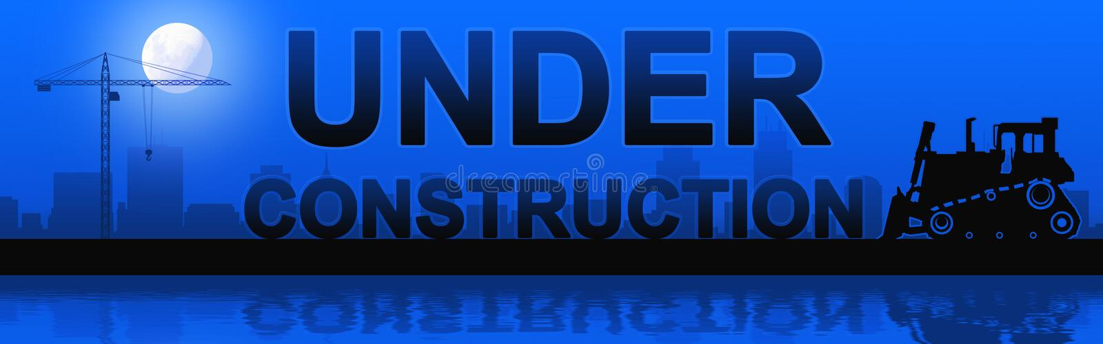 Under construction silhouetted. Under construction silhouetted against the full moon royalty free illustration