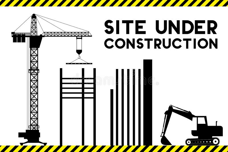 Under construction site with silhouettes of building,crane and e. Xcavator,template error 404,flat vector illustration vector illustration