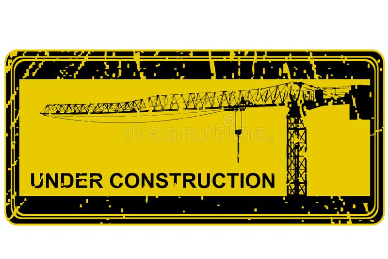 Under construction stamp with crane silhouette stock illustration