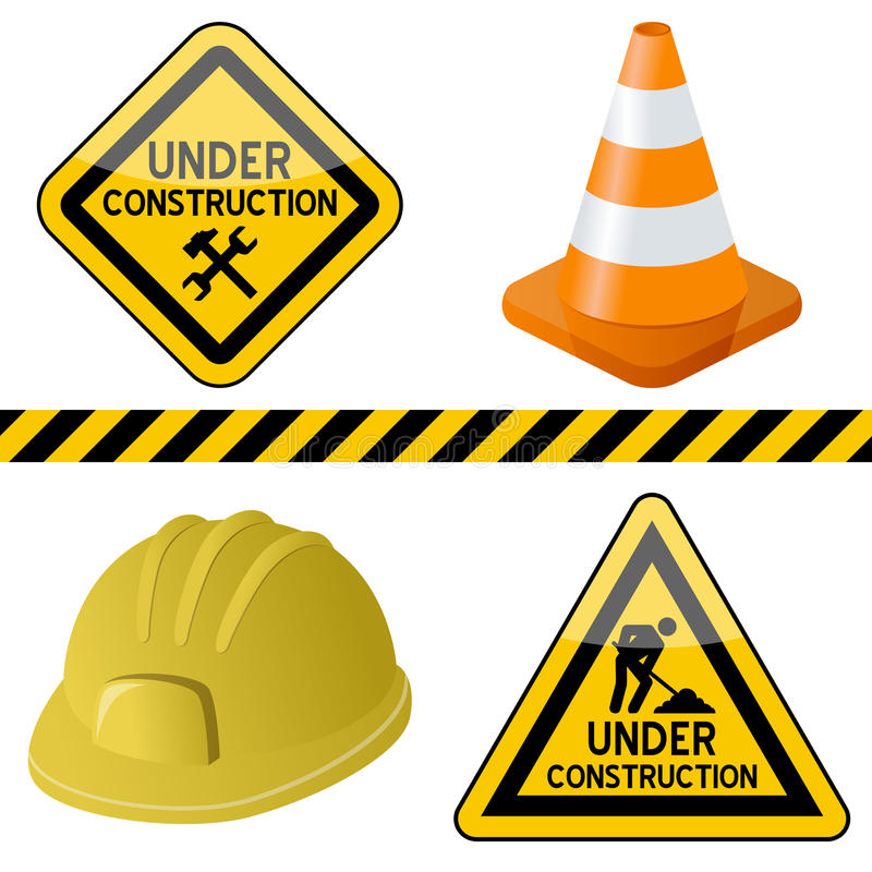 Free Under Construction Symbols Set Royalty Free Stock Photos - 22718358
