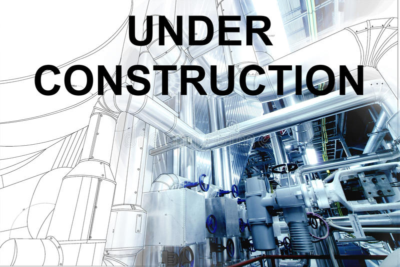 Under construction text over wireframe cad design of pipelines f. Or modern industrial power plant with pipelines stock photo