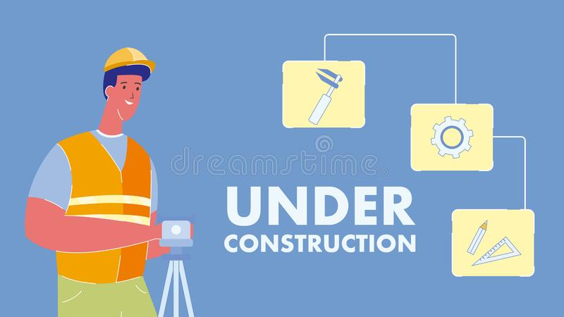 Under Construction Vector Web Banner with Text stock illustration