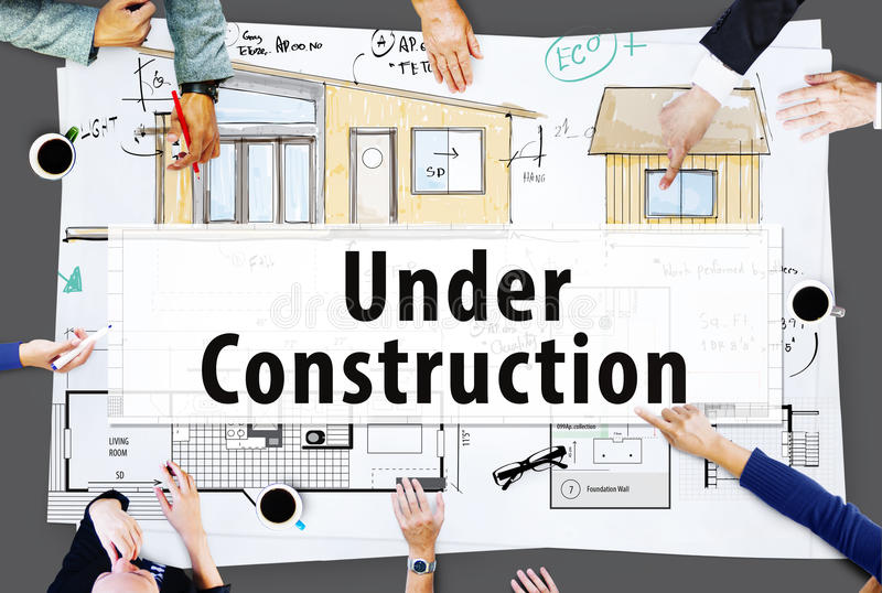 Under Construction Warning Building Architecture Concept.  stock images