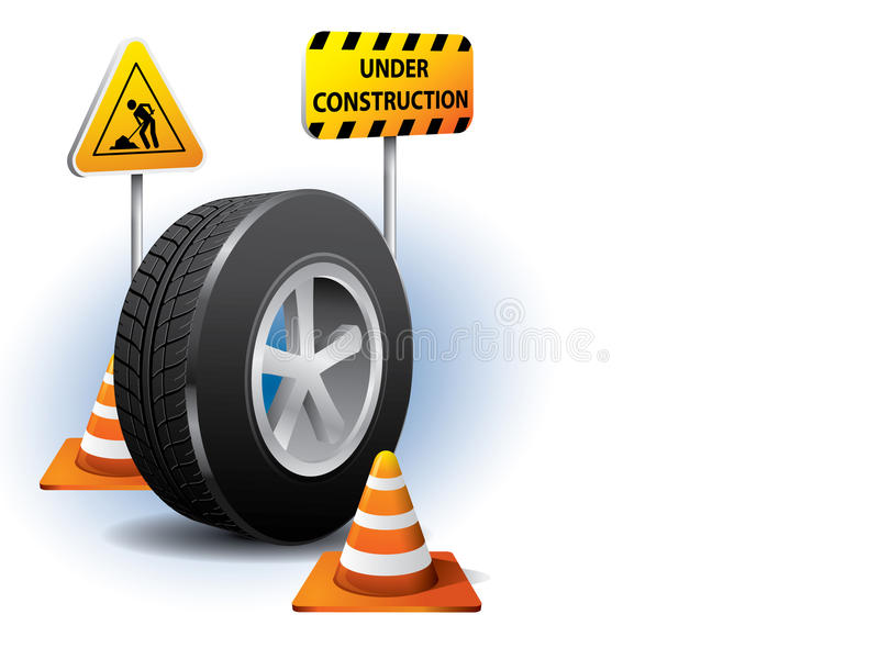 Under construction website concept. With car tire and rad signs royalty free illustration