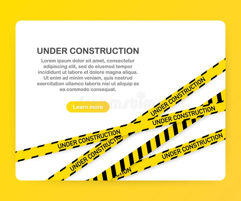 Under construction website page with black and yellow striped borders. Border stripe web. Vector illustration. Under construction website page with black and stock illustration