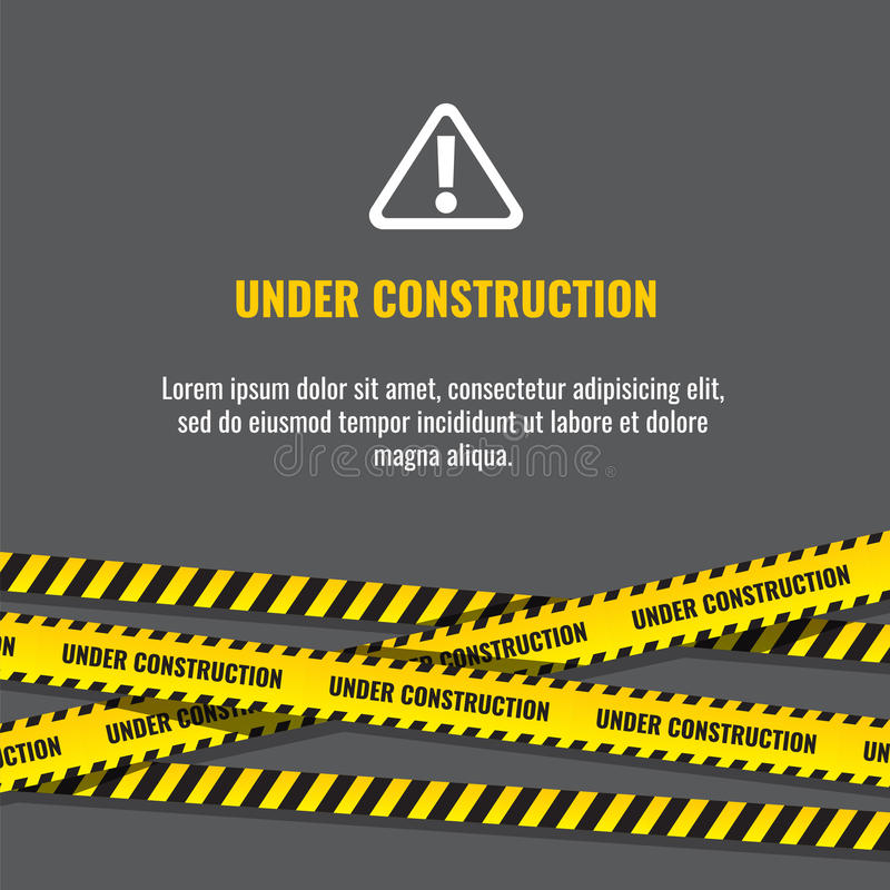 Under construction website page with black and yellow striped borders vector illustration. Border stripe web, warning banner vector illustration