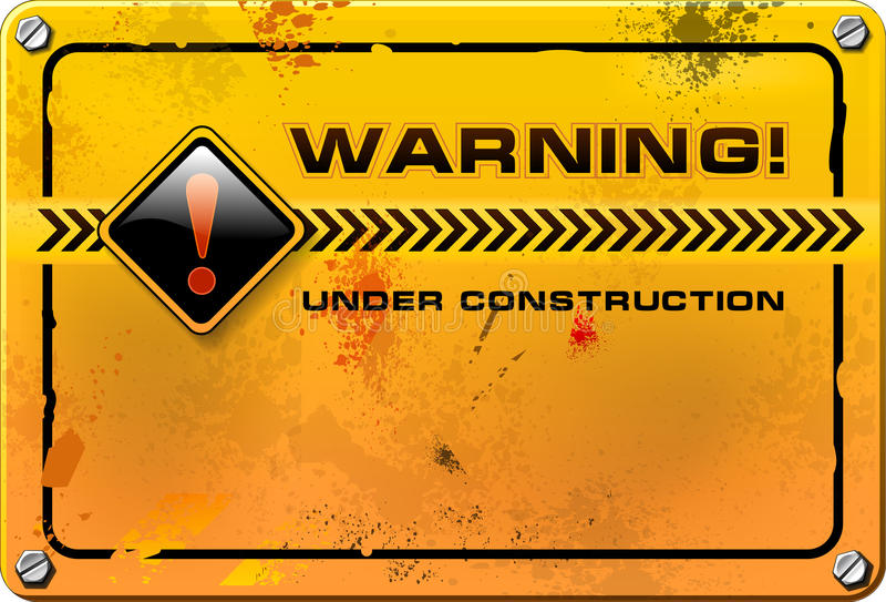 Under Construction, yellow grunge sign vector stock illustration
