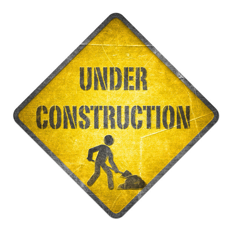 Under construction yellow sign royalty free illustration