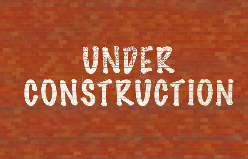 Under contruction. Text on wall vector illustration