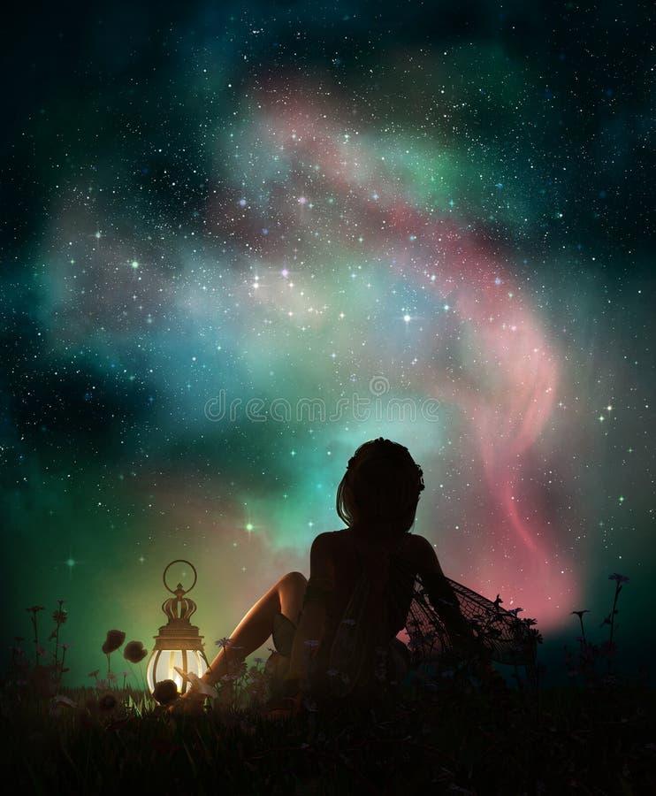 Under den stjärnklara himlen 3d CG royaltyfri illustrationer