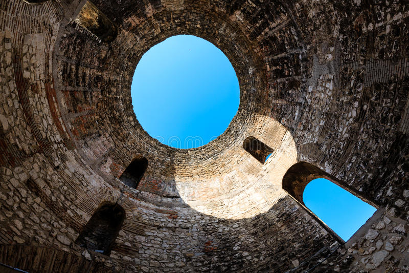 Under Diocletian Mausoleum Dome in Split. Croatia stock photo