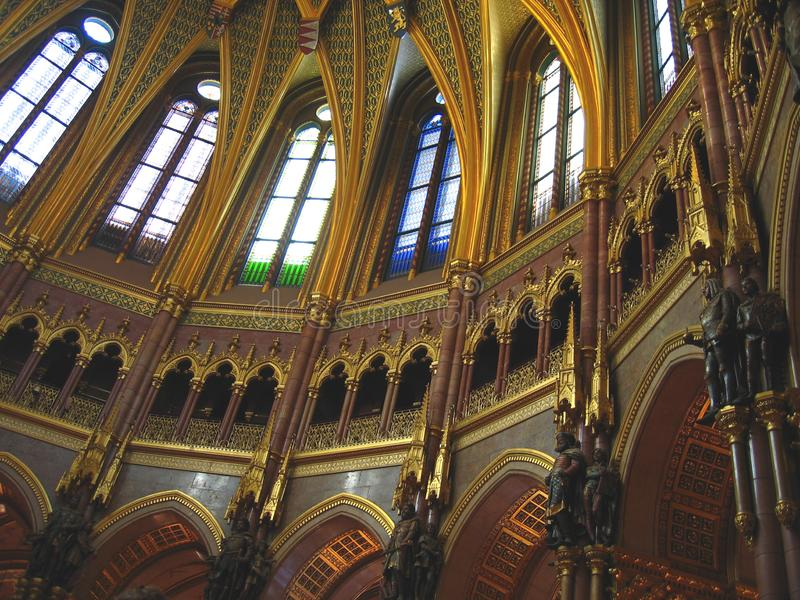 Under the dome of Hungarian Parliament stock photo