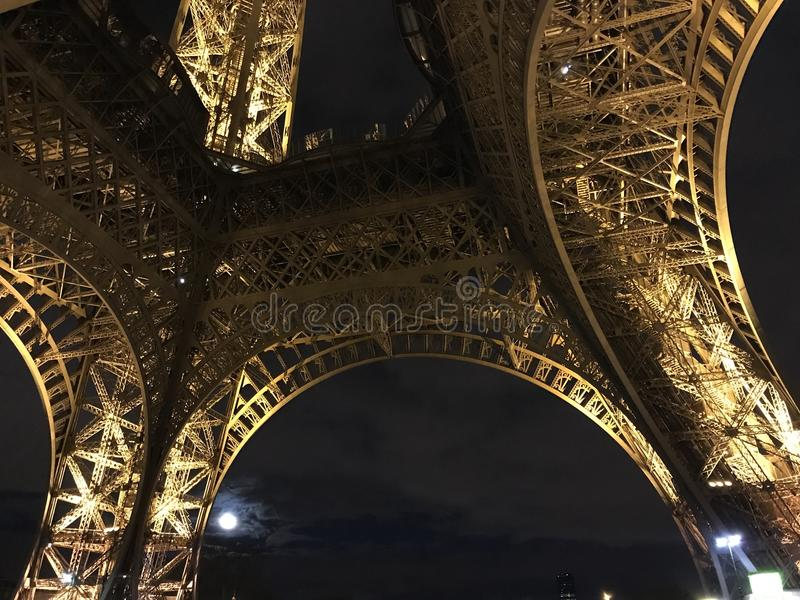 Under the Eiffel Tower at Night royalty free stock photography