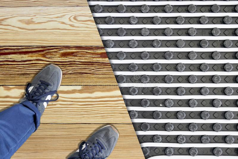 Under floor heating system. Building construction:Under floor heating system royalty free stock photo