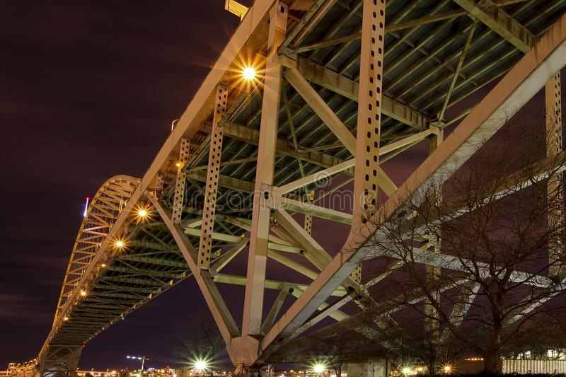 Under the Fremont Bridge at Night in Portland OR stock image