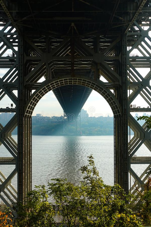 George Washington Bridge. Under the George Washington Bridge stock images