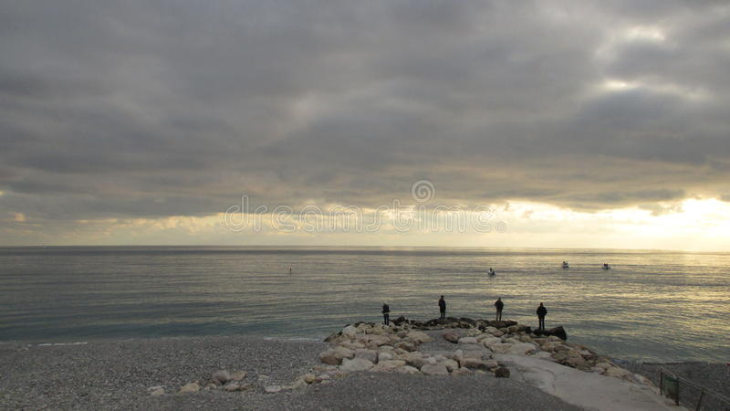 Under the gray sky stock photography