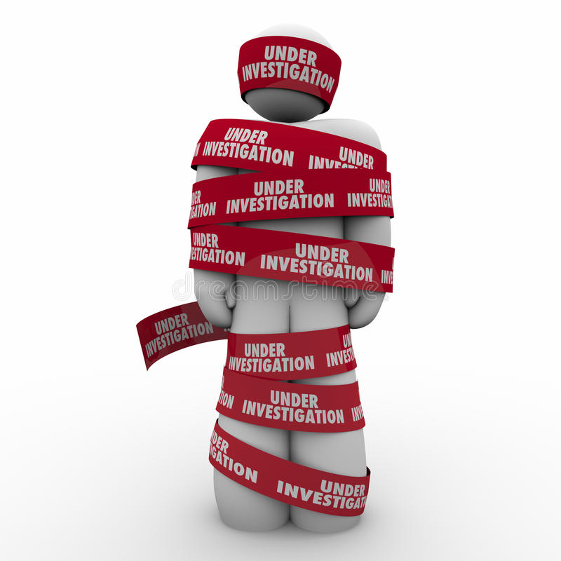 Under Investigation Words Red Tape Around Man Crime Suspect Arrested. Under Investigation words on red tape wrapped around a man or person suspected of a crime vector illustration