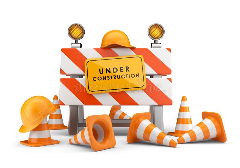 Under konstruktion. barriär 3D   royaltyfri illustrationer