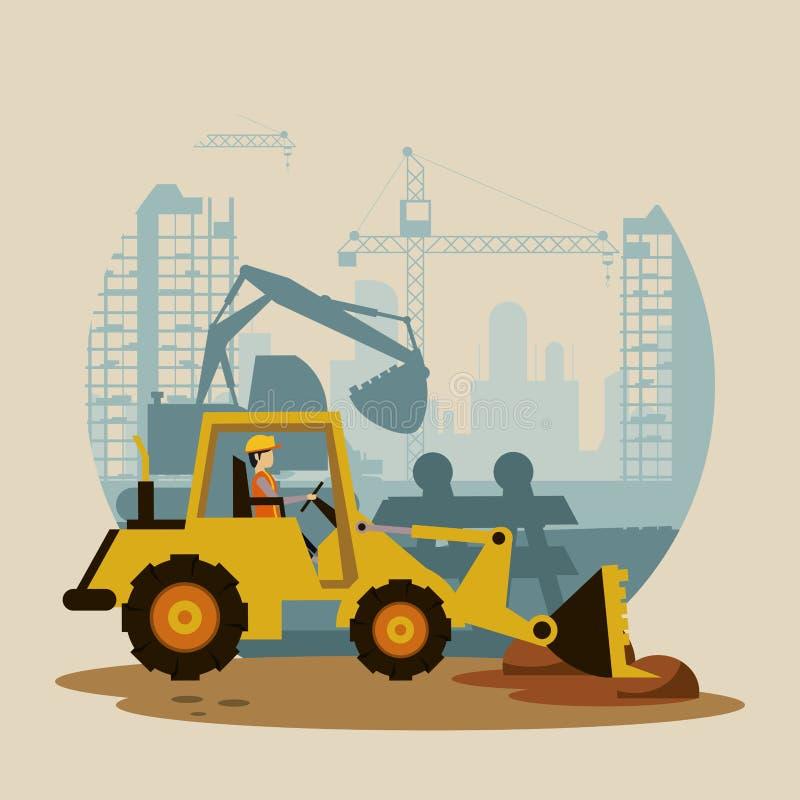 Under konstruktionsgrävskopamaskinen royaltyfri illustrationer
