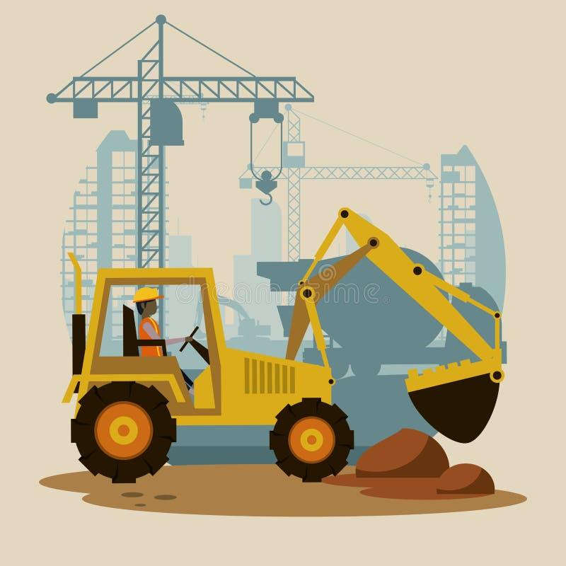 Under konstruktionsgrävskopamaskinen vektor illustrationer