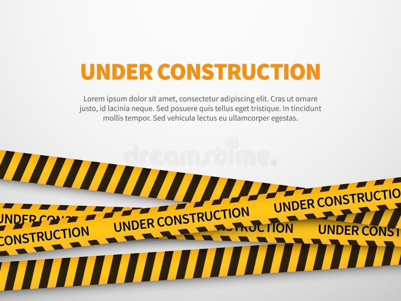 Under konstruktionssidan För gul varnande linje varning bandtankeskapelse för varning för säkerhet för bakgrundsteckenwebbsida vektor illustrationer