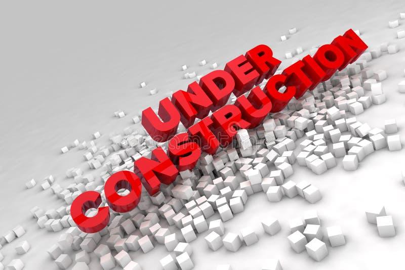 Under konstruktionstecken med kvarter av kuber royaltyfri illustrationer