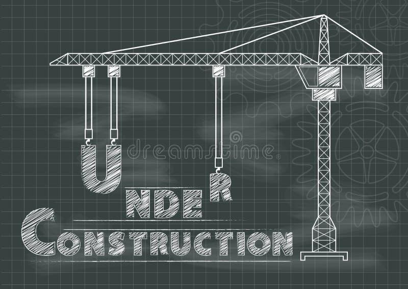 Under konstruktionstecken utrustar förser med kuggar kranen och den svart tavlan vektor illustrationer