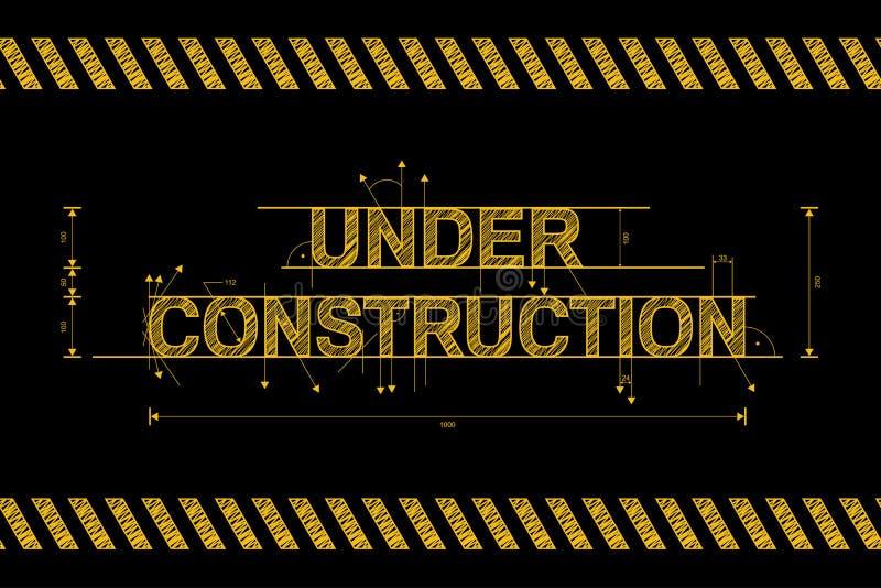 Under konstruktionsvägmärke i guling på svart royaltyfri illustrationer