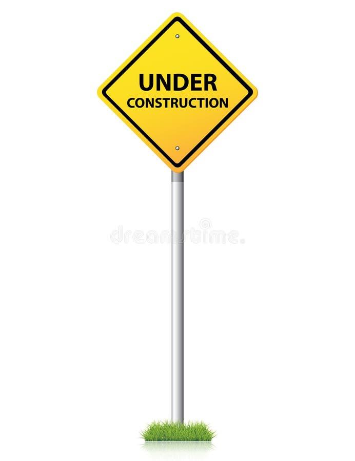 Under konstruktionsyellowtecken stock illustrationer