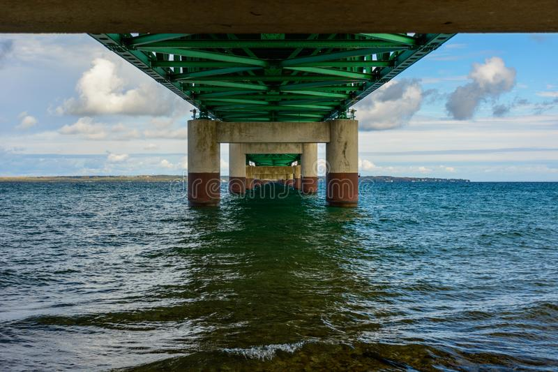 Under Mackinac Bridge, Mackinaw City, MI, USA. Under the Mackinac Bridge, Mackinaw City, MI, USA. Foundation of bridge royalty free stock images