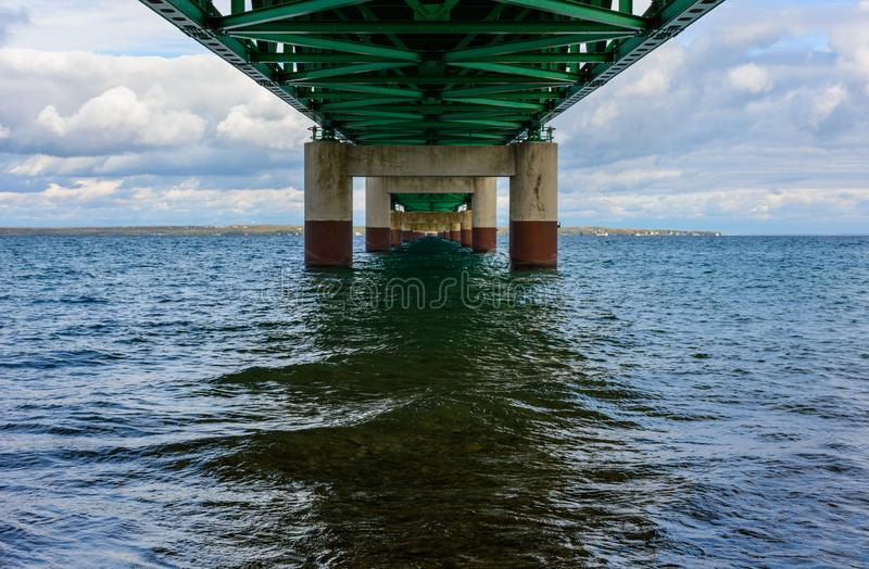 Under Mackinac Bridge, Mackinaw City, MI, USA. Under the Mackinac Bridge, Mackinaw City, MI, USA. Foundation of bridge stock photo