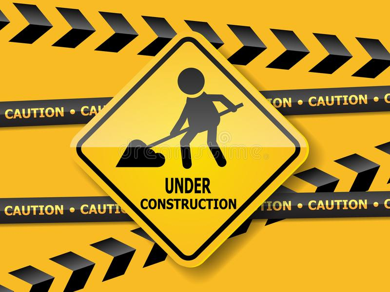 Under pågående konstruktionsvägmärkearbete royaltyfri illustrationer
